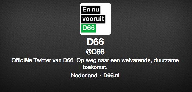 D66 heeft nog geen headerfoto op Twitter