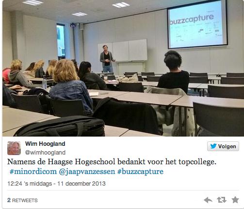 Gastcollege Haagse Hogeschool minor Digitale Communicatie